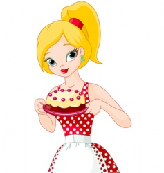 Young woman holding cake vector