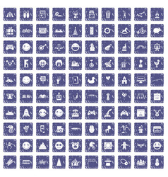 100 funny icons set grunge sapphire vector image