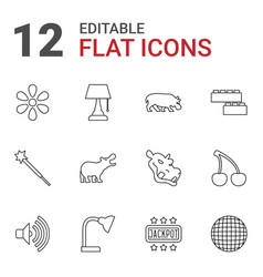 12 bright icons vector