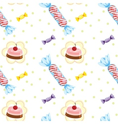 A seamless design with cupcakes and candies vector