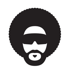 african man with afro hairstyle and sunglasses vector image