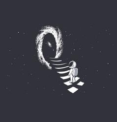 An astronaut climbs the stairs into wormhole vector