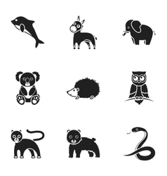 Animals set icons in black style Big collection vector image
