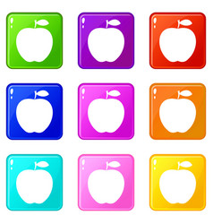 apple icons 9 set vector image