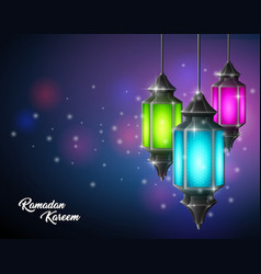 beautiful ramadan kareem with arabic lamp hanging vector image