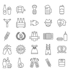 beer oktoberfest icon set in thin line style vector image