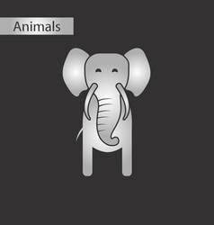 Black and white style icon elephant vector