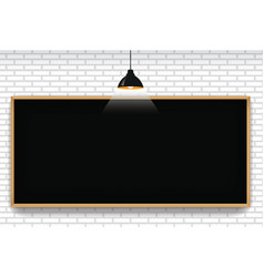 blank blackboard in white brick wall background vector image
