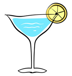 blue cocktail with lemon on white background vector image