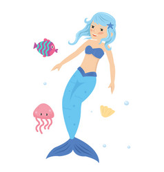 Blue haired mermaid princess in the sea vector