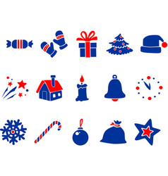 blue red new year icons vector image