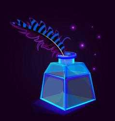 blue transparent ink bottle vector image