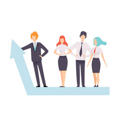 business people standing on growth arrow graph vector image