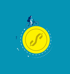 Businesswoman ride a bike on coin concept vector