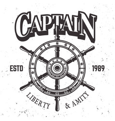 Captain ship wheel vintage label emblem or print vector