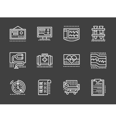 Cardiology white simple line design icons vector