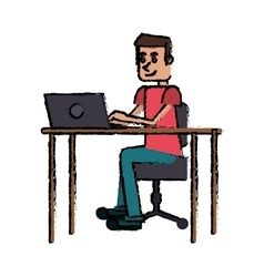 cartoon guy laptop desk workplace vector image