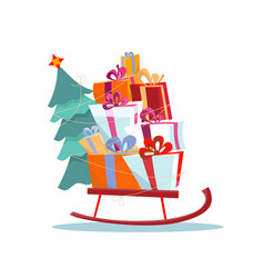 children s sled with pile presents and a vector image