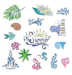 Colorful Sketch Style Summer Icons vector image