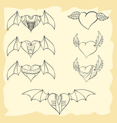 Contoured valentine hearts with wings vector