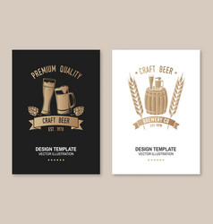 craft beer poster flyer template card vector image