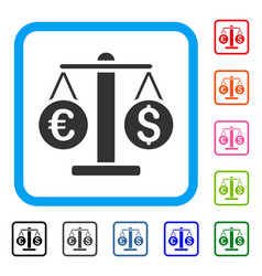 currency weight framed icon vector image
