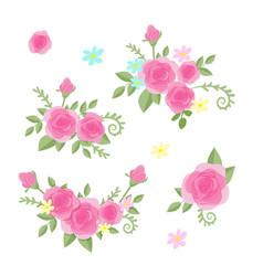 cute cartoon set roses flowers vector image