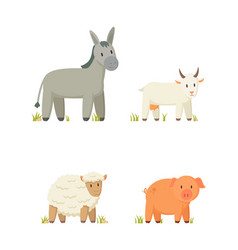 Donkey and goat icons set vector