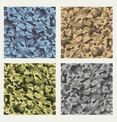 Fabric camouflage seamless patterns set vector