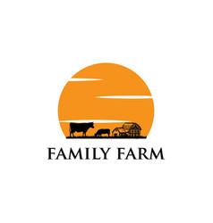 family farm logo design vector image