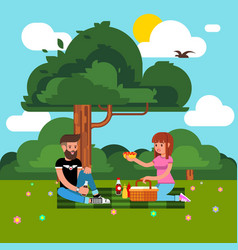flat style happy family park vector image