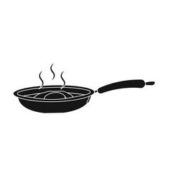 Frying pan single icon in blakck stylefrying pan vector