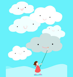 Girl positive thinking draw smile on cloud vector