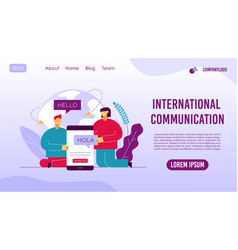 global communication service landing page design vector image