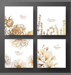 Gold collection of cards design with peonies vector