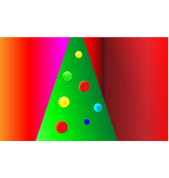gradient red christmas background with green tree vector image
