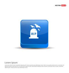 Halloween grave icon - 3d blue button vector