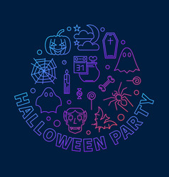 halloween party round outline colored vector image