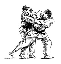 Hand sketch competing judo vector