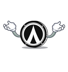 Hand up dentacoin mascot cartoon style vector