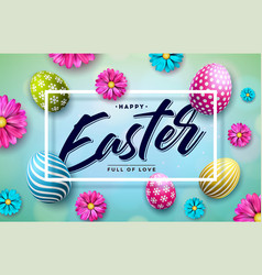 happy easter with colorful painted vector image