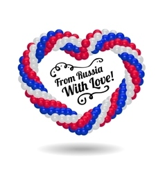 Heart from balloons in the colors of Russian flag vector