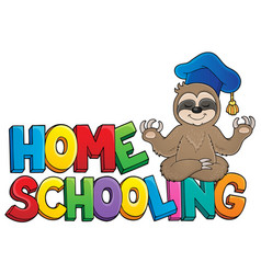 Home schooling theme sign 4 vector