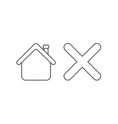 Icon concept house with x mark black outline vector