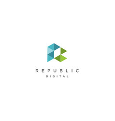 initial r pixel hexagon geometric logo design vect vector image