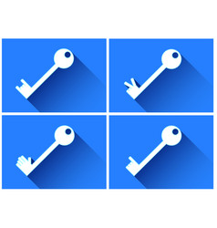 key icon with long shadows and blue background col vector image