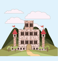 landscape with mountains and princesses castle in vector image