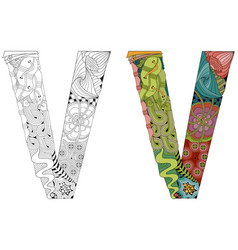Letter v zentangle for coloring decorative vector