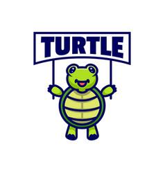 logo turtle mascot cartoon style vector image