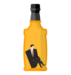Man drinker inside bottles businessman sitting in vector